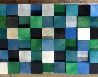 Painting wooden mosaic