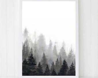 Forest Print. Landscape Poster. Watercolor Print. Foggy Forest. Black White Wall Art. Trees Art. Nature Wall Decor. Abstract Print. Woodland