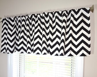 SALE Curtain Valance Topper Window Treatment 53x15 Black/White Zig Zag Chevron - Yellow Black Blue