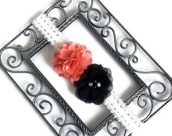 Elastic lace flowered headband cream black orange, shabby chic headwrap, newborn photo prop, flower girl, toddler headband, baby shower gift