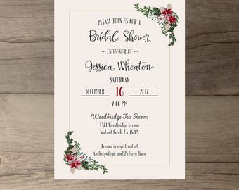 Winter Bridal Shower Invitations • Floral Wedding • Couples Shower • printable
