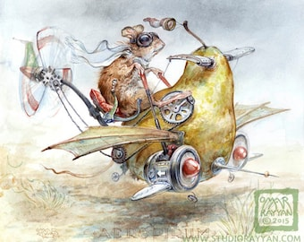 AeroPirum (print) steampunk pear airplane, mouse pilot, fantasy art, aviator, mechanical, humor