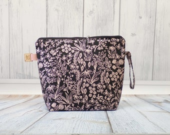 Rose Gold Flowers Large Clutch Project Bag, Cross Stitch Project Bag, Wedge Zipper Bag for Knitting and Crochet. Padded Bag. Zipper bag
