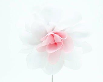 Christina White/Pink Flower Lapel Pin