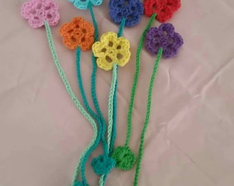 Hand Crocheted Flower Bookmark
