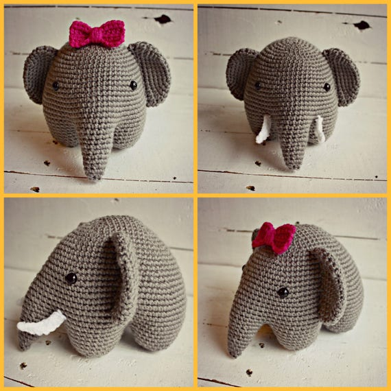 Crochet Elephant Toy Elephant Toy Elephant Baby Toy Girl