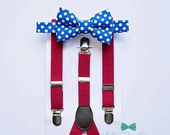 Boys Royal Blue Bow Tie Red Suspenders..Boy Christmas Outfit..1st Birthday Boy..Boy Cake Smash Outfit..Boys First Christmas..Red Suspenders