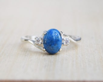 Lapis Lazuli Ring, Lapis Ring Silver, Sterling Silver Ring, Blue Ring, Denim Lapis Ring, Navy Gemstone