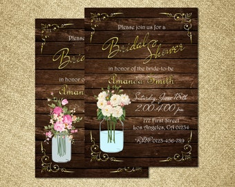Rustic Bridal Shower Invitation, Mason Jar Bridal Shower Invitation, Country Bridal Shower Invitation, Wood Bridal Shower Invitation