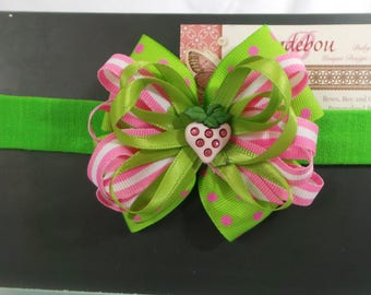 Green and Pink Baby Headband - Dressy Green and Pink Headband - Pink Headband - Green Headband