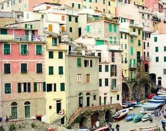 "Italy travel photography - colorful wall art - pastel home decor - architecture art - pink yellow green - wooden boats   ""So Many Windows"""