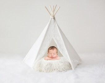 Newborn Photography Digital Backdrop for girls or boys - Simple white wigwam/teepee