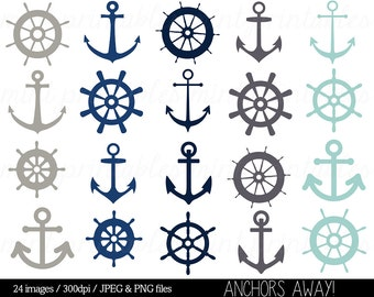 Nautical Clipart Clip Art, Anchor Clipart, Helm Clipart, Sailing Ocean Seaside Sailor Ship - Commercial & Personal - BUY 2 GET 1 FREE!