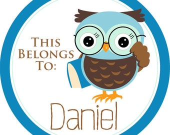 Name Label Stickers - Smart Blue and Brown School Book Owl Personalized Name Tag Stickers - 2 inch Round Tags - Back to School Name Labels