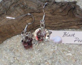 Earrings purple glass pig