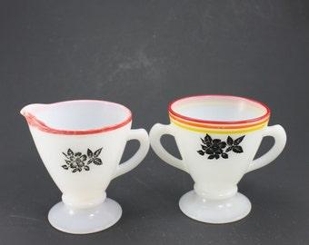 Vintage Hazel Atlas Black Rose Black Floral Platonite Ovide Depression Glass White Milk Glass Sugar Bowl & Creamer Set