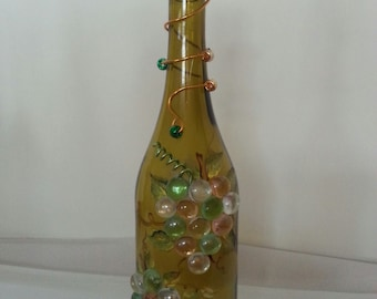 Wine Bottle Lamp, Glass Bottle Lamp, Upcycled Wine Bottle Lamp