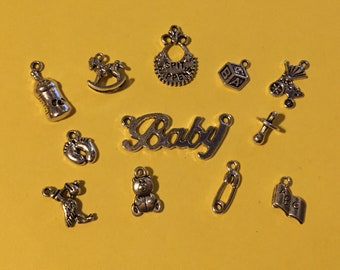 Baby Collection - 12 Mixed Baby Charms -  CC035