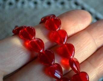 45pcs 10mm Preciosa Czech Pressed Glass Beads Heart Ruby Red Hearts