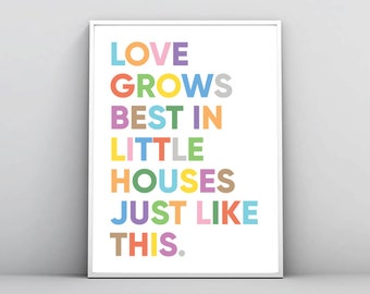 Love Grows Best In Little Houses Just Like This, Inspirational Print, Printable Wall Art,Inspiring Words,Quote Poster Decor,Digital Download