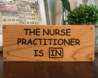 The Nurse Practitioner Is In Block Sign, Wooden Block Sign, Charlie Brown, Lucy, Peanuts