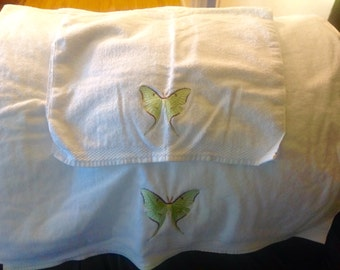 Embroidered Luna Moth Towels ( 2 )