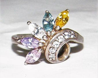 Sterling Silver ring with Multi Colored CZ stones - size 8