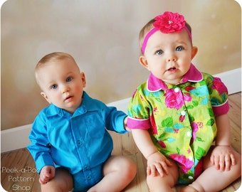 Max & Matilda Button-Up Bodysuit: Bodysuit Pattern, Baby Shirt Pattern