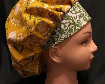 Yellow/Olive Floral Surgical Womens Scrub Hat Bouffant fits ponytail, Chemo Cap, Surgical Hat, Nurse Cap