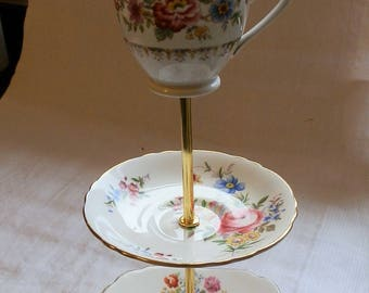 Vintage 1950's Unique Three Tier Pink and Blue Bone China Floral Cake Stand with Gold Tone Metal Fixings