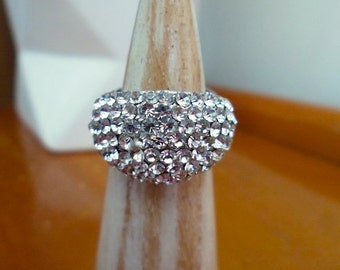 Chunky Pave Sparkly Rhinestone and Silvertone Adjustable Dome Ring Bling Costume Jewelry