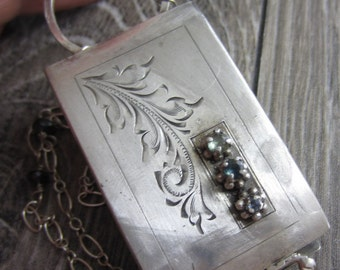 Old Scrollwork Necklace - Vintage Belt Buckle Reporpose into a Locket with Sapphires