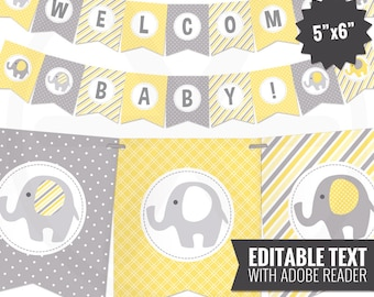 Yellow Elephant Baby Shower Banner - Baby Banner - Yellow and Gray Baby Shower Decorations - Gender Neutral Baby Decor. Editable - Printable