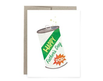 Father's Day card, Pop card, Vintage Pop Can Father's Day Card, Vintage Card,