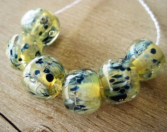 Lampwork Glass 6 Silvered Golden Shimmery Encased with Blue dots Reduction Glass Beads