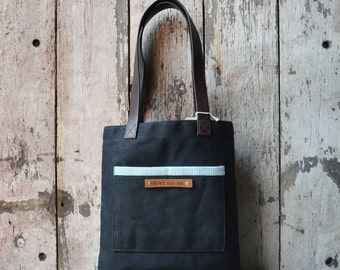 LAST FEW! Antique Leather Black Reader Tote Bag, Coal, Waxed Canvas Bag, Book Bag, Gift for Women, Personalize, Birthday Gift, Wife Gift