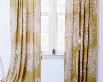 "Yellow window curtains window treatment Block print natural dye home and living houseware -ONE panel - Tree Forest 56""w x 108""L"
