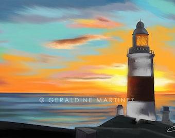 Europa Point Lighthouse, Gibraltar, iPad painting