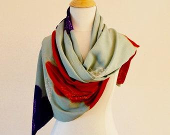 Vintage silk kimono Scarf, Light blue fabric with orange and purple accents