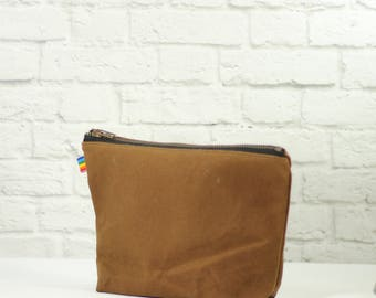 Waxed Canvas Bag - Brown Canvas Dopp Bag - Gift for Him - Gift for Her - Makeup Bag - Wet Dry Bag - Small Purse - Waxed Canvas Pouch