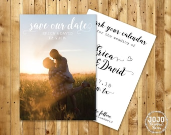Printable Save the Date, Personalized Picture Save the Date, Custom Wedding Announcement, Classic Save the Date