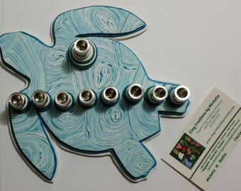 Turtle Silhouette Menorah -  Teal and Turquoise Spirals