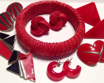 Vintage Earrings and Bangle Bracelet in Red, Clip earrings, Pierced Earrings, Red and Black Earrings, Retro jewelry