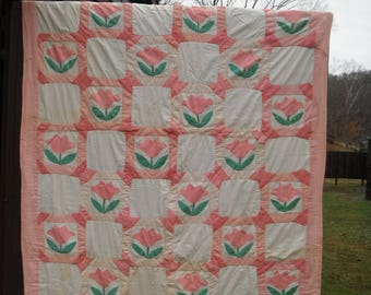 Vintage Handmade Pink and Green Tulip Quilt - Twin