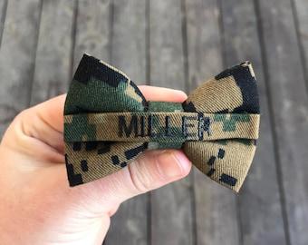 Military Mini Personalized Marine Woodland Nametape Bow | Marine Baby | Military Baby | USMC Baby | USMC | Marine Bow | Baby Marines | Baby