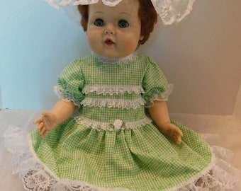 "Green Gingham Dress Set for 21"" American Character Baby Toodles"
