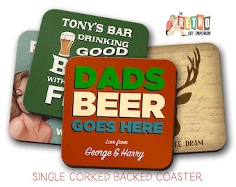 Custom Bar Coaster, name coasters, custom coaster, personalised gift, affordable gift, Retro Coasters, Various designs