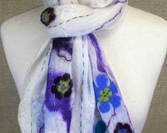 Sheer ivory nuno felted scarf with floral pattern in blue and purple