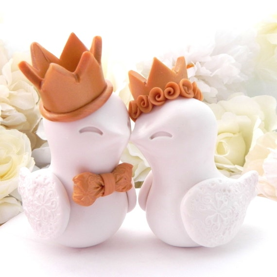 Love Birds Wedding Cake Topper -White with Gold Crowns- Bride and Groom Keepsake - Fully Customizable