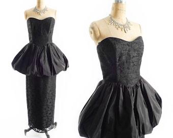 "Vintage AVANT GARDE Peplum Dress // 1980s Prom Dress // 80s Prom Dress // Black Formal Dress // Strapless Sweetheart Dress sz M - 30"" Waist"